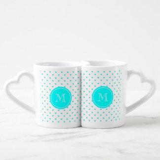 Cyan Glitter Hearts with Monogram Couples Mug