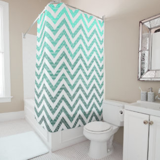 Cyan Gradient Stripy Chevron Shower Curtain