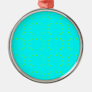 Cyan Green Silver-Colored Round Decoration