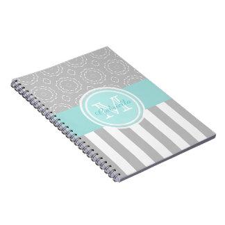 Cyan, Grey & White Striped/Motif Monogram Notebook