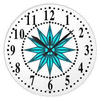 Cyan Guiding Star Wall Clock