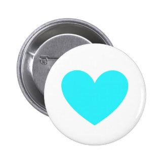 Cyan Heart 6 Cm Round Badge