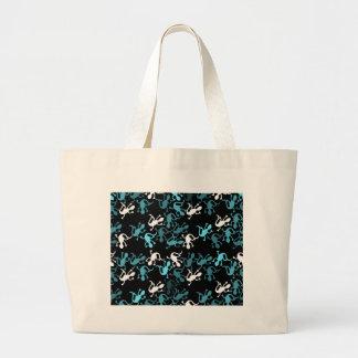 Cyan lizards pattern large tote bag