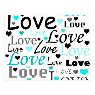 Cyan Love pattern Postcard
