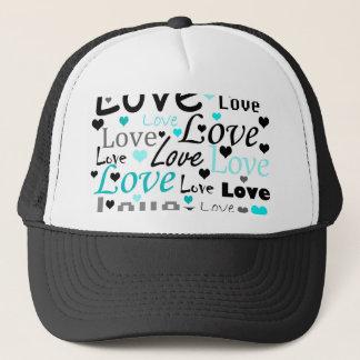 Cyan Love pattern Trucker Hat