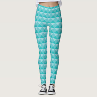 Cyan Modern Diamond Triangle Row Illusion Leggings
