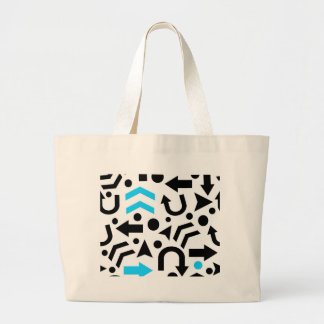 Cyan right direction large tote bag