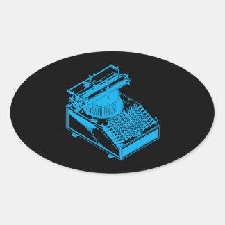 Cyan Type Writing Machine Oval Sticker