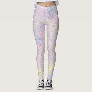 Cyan, Yellow, Magenta Swirl Leggings