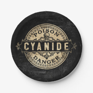 Cyanide Vintage Style Poison Label Paper Plate