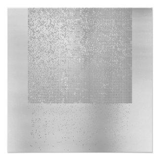 Cyber Binary Minimalism Monochromatic Silver Gray Poster