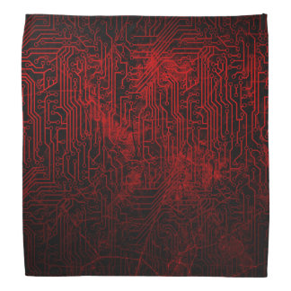 Cyber Doomsday Dark Gothic Red Circuit Board Bandana