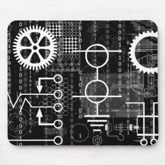 Cyber Gears Computer Code Geek Engineer Math Tech Mouse Pad