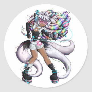 Cyber Kitsune Girl Classic Round Sticker