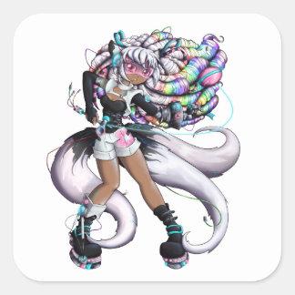 Cyber Kitsune Girl Square Sticker