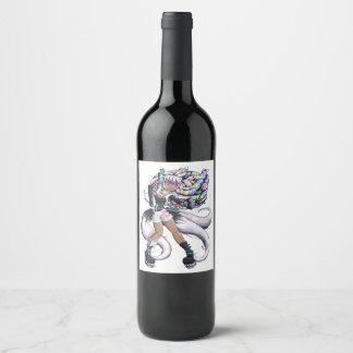 Cyber Kitsune Girl Wine Label