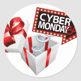 Cyber Monday Black Friday Sale Sign Classic Round Sticker