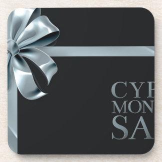 Cyber Monday Friday Sale Silver Ribbon Bow Design Coaster