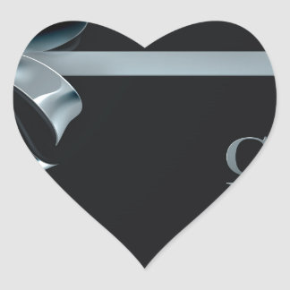 Cyber Monday Friday Sale Silver Ribbon Bow Design Heart Sticker