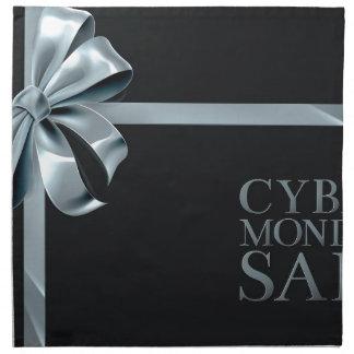 Cyber Monday Friday Sale Silver Ribbon Bow Design Napkin