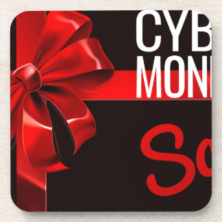 Cyber Monday Sale Gift Ribbon Bow Sign Coaster