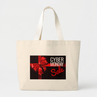 Cyber Monday Sale Gift Ribbon Bow Sign Large Tote Bag