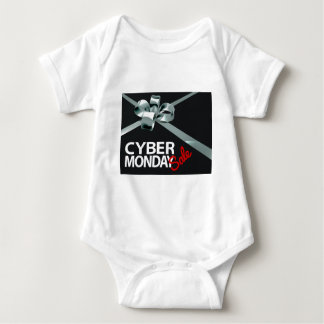 Cyber Monday Sale Silver Ribbon Gift Bow Design Baby Bodysuit