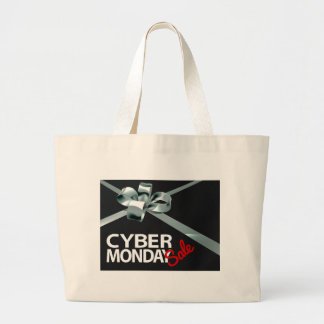 Cyber Monday Sale Silver Ribbon Gift Bow Design Large Tote Bag