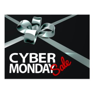 Cyber Monday Sale Silver Ribbon Gift Bow Design Postcard