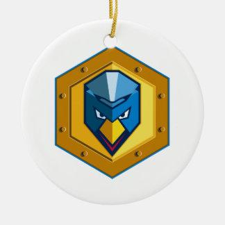 Cyber Punk Chicken Hexagon Icon Ceramic Ornament