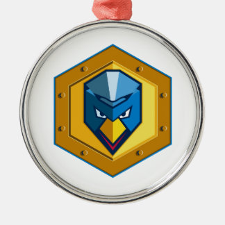 Cyber Punk Chicken Hexagon Icon Metal Ornament