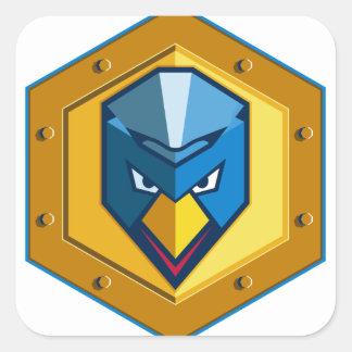 Cyber Punk Chicken Hexagon Icon Square Sticker