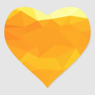 Cyber Yellow Abstract Low Polygon Background Heart Sticker