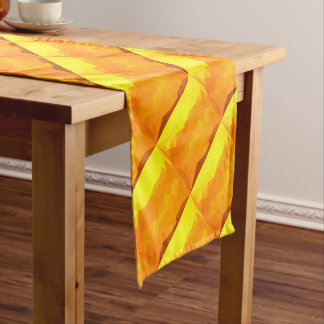 Cyber Yellow Abstract Low Polygon Background Short Table Runner
