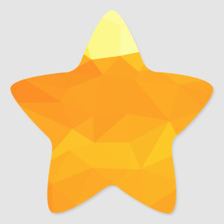 Cyber Yellow Abstract Low Polygon Background Star Sticker