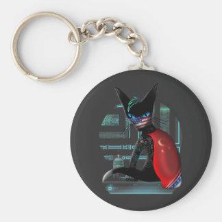 Cyberpunk Ninja Cat Key Ring