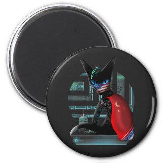 Cyberpunk Ninja Cat Magnet