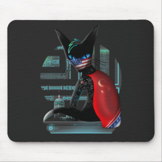 Cyberpunk Ninja Cat Mouse Pad