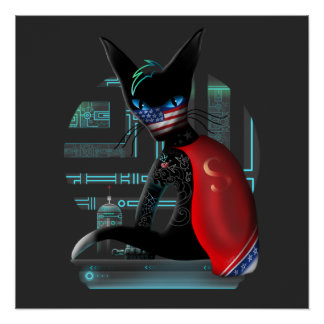 Cyberpunk Ninja Cat Poster