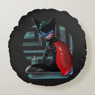 Cyberpunk Ninja Cat Round Cushion