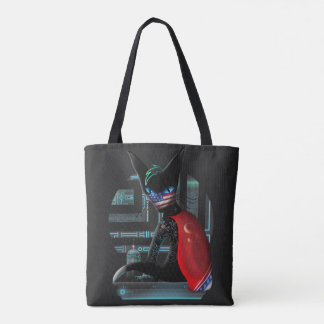 Cyberpunk Ninja Cat Tote Bag