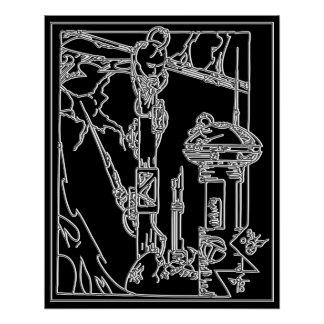 Cyborg Fantasy Techno Dream Negative Poster