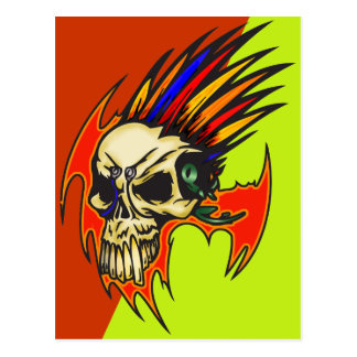 Cyborg Skull With Feathers Postcard