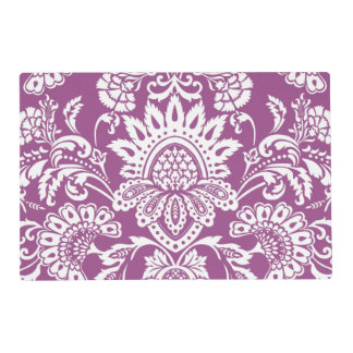 cyclamen damask front and back laminated place mat