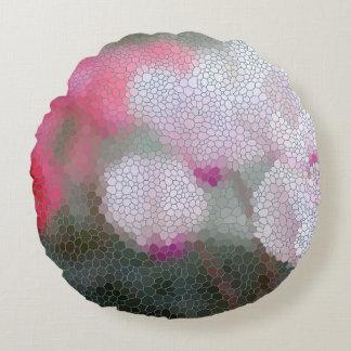 Cyclamen Flower Mosaic Round Cushion