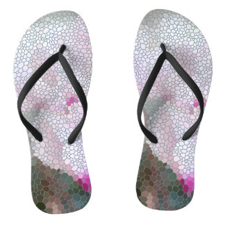 Cyclamen Flower Mosaic Thongs