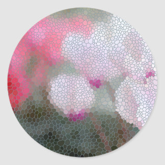 Cyclamen Flowers Mosaic Classic Round Sticker