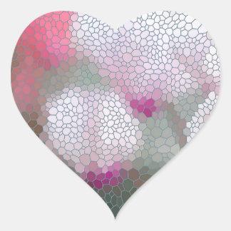 Cyclamen Flowers Mosaic Heart Sticker