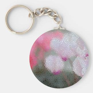 Cyclamen Flowers Mosaic Key Ring