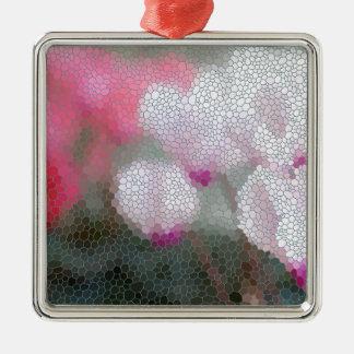 Cyclamen Flowers Mosaic Metal Ornament